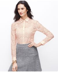 Ann Taylor Petite Winter Lace Top - Lyst