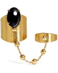 Ela Stone 'Liad' Oval Stone Chain Link Double Ring - Lyst