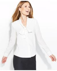 Calvin Klein Petite Longsleeve Tiefront Blouse - Lyst