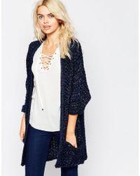 La Fee Verte - Thick Knit Oversize Navy Cardigan - Lyst