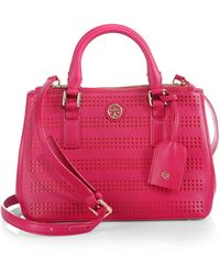 Tory Burch Robinson Micro Perforated Double-Zip Tote - Lyst