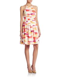 Vince Camuto Fit-And-Flare Print Dress - Lyst