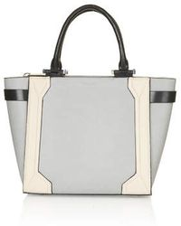 Topshop Gray Structured Tote - Lyst