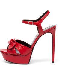 Saint Laurent - Bianca Leather Bow Sandal - Lyst
