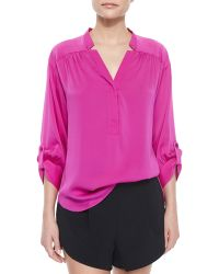 Milly 3/4-Sleeve Silk Crepe Blouse - Lyst