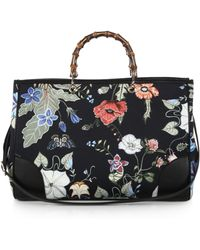 Gucci Bamboo Shopper Large Flora Knight Canvas Tote black - Lyst