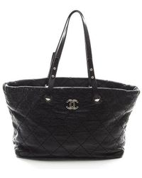 Chanel Preowned Glazed Leather On The Road Tote Bag - Lyst