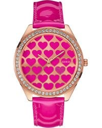Guess  Pink Patent Leather Strap Watch 44mm - Lyst