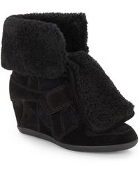 Ash Boogy Shearling  Suede Wedge High-top Sneakers - Lyst