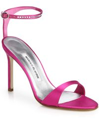 Manolo Blahnik Wham Jeweled Satin Sandals - Lyst