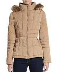 Calvin Klein Hooded Faux-fur Trimmed Puffer Jacket - Lyst