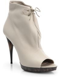 Burberry Jenkin Heritage Leather Open-toe Ankle Boots - Lyst