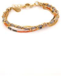 Sogoli - Chain & Beaded Wrap Bracelet - Gold/coral Grey - Lyst