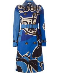 Burberry Prorsum Printed Trench Coat blue - Lyst