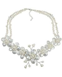 Aeravida - White Coin Pearl Cluster Sakura Flower .925 Silver Necklace - Lyst