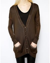 Mango - Cardigan with Contrast Seam - Lyst