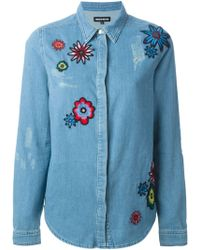 House of Holland Embroidered Flower Denim Shirt - Lyst