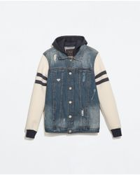 Zara Combined Denim Jacket - Lyst