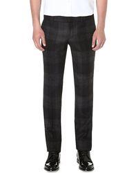 Alexander McQueen Mcq Plaid Wool Trousers Black - Lyst