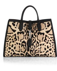 Gucci Jackie Soft Leopard Print Calf Hair Top Handle Bag - Lyst
