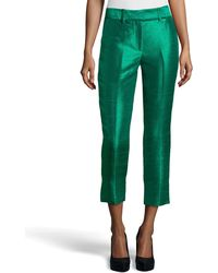 Halston Heritage Cropped Dupioni Ankle Pants - Lyst