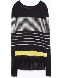 Zara Striped Side Slit Sweater - Lyst