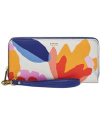 Fossil Sydney Printed Leather Zip Clutch multicolor - Lyst
