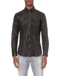 Diesel L-Sulphur Leather Shirt Jacket - For Men black - Lyst