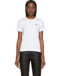 Play Comme des Garçons White And Red Heart Patch T_Shirt - Lyst