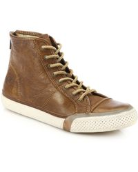 Frye Greene Leather Back-Zip High-Top Sneakers brown - Lyst