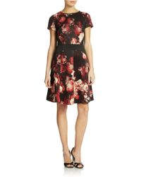 Adrianna Papell Rose Print Woven Dress - Lyst