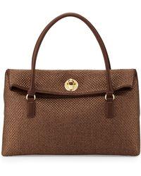 Love Moschino Borsa Tessuto Woven Foldover Bag Brown - Lyst