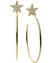 Michael Kors Gold-Tone Crystal Pavé Star Hoop Earrings - Lyst