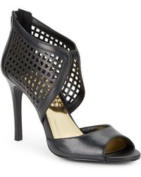 Jessica Simpson Jersee Leather Peep-Toe Sandals - Lyst