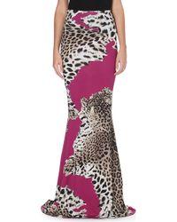 Roberto Cavalli Leopard Print Stretch Jersey Maxi Skirt Fuschia - Lyst