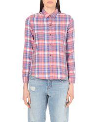 Current/Elliott Checked Cotton-Blend Shirt - For Women - Lyst