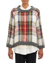 Sea Tartan Plaid Boxy Sweater - Lyst