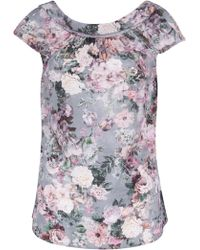 Almari - Floral V Back Collar Blouse - Lyst