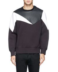 Neil Barrett Geometric Leather Panel Neoprene Sweatshirt - Lyst