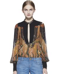 Gucci Fantasy-Print Embroidered Silk Shirt black - Lyst