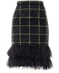 Erdem Aysha Feather Tweed Skirt black - Lyst