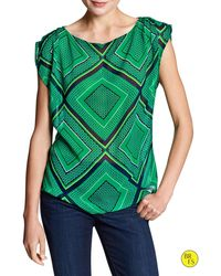 Banana Republic Factory Sheer Gathered Shoulder Top - Lyst