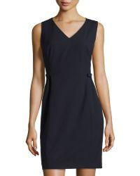 Lafayette 148 New York Naya Wool Crepe Sleeveless Dress - Lyst