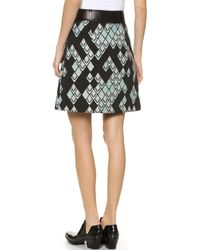 3.1 Phillip Lim Abstract Jacquard Skirt - Celadon/Black - Lyst