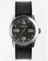 Nixon Private Black Leather Strap Watch A049 - Lyst