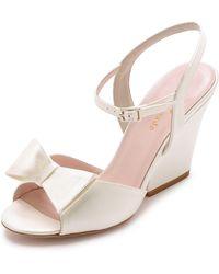 Kate Spade Imari Wedge Sandals - Ivory - Lyst
