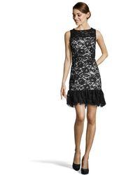 Jill Jill Stuart Black And Pale Blue Silk Blend Lace Overlay Sleeveless Dress - Lyst
