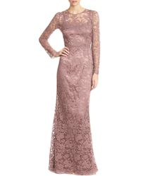 Dolce & Gabbana Long-Sleeve Lace Gown - Lyst
