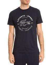 Lacoste Sport Navy Print Tshirt - Lyst