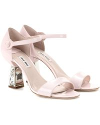 Miu Miu Embellished Patent-Leather Sandals - Lyst